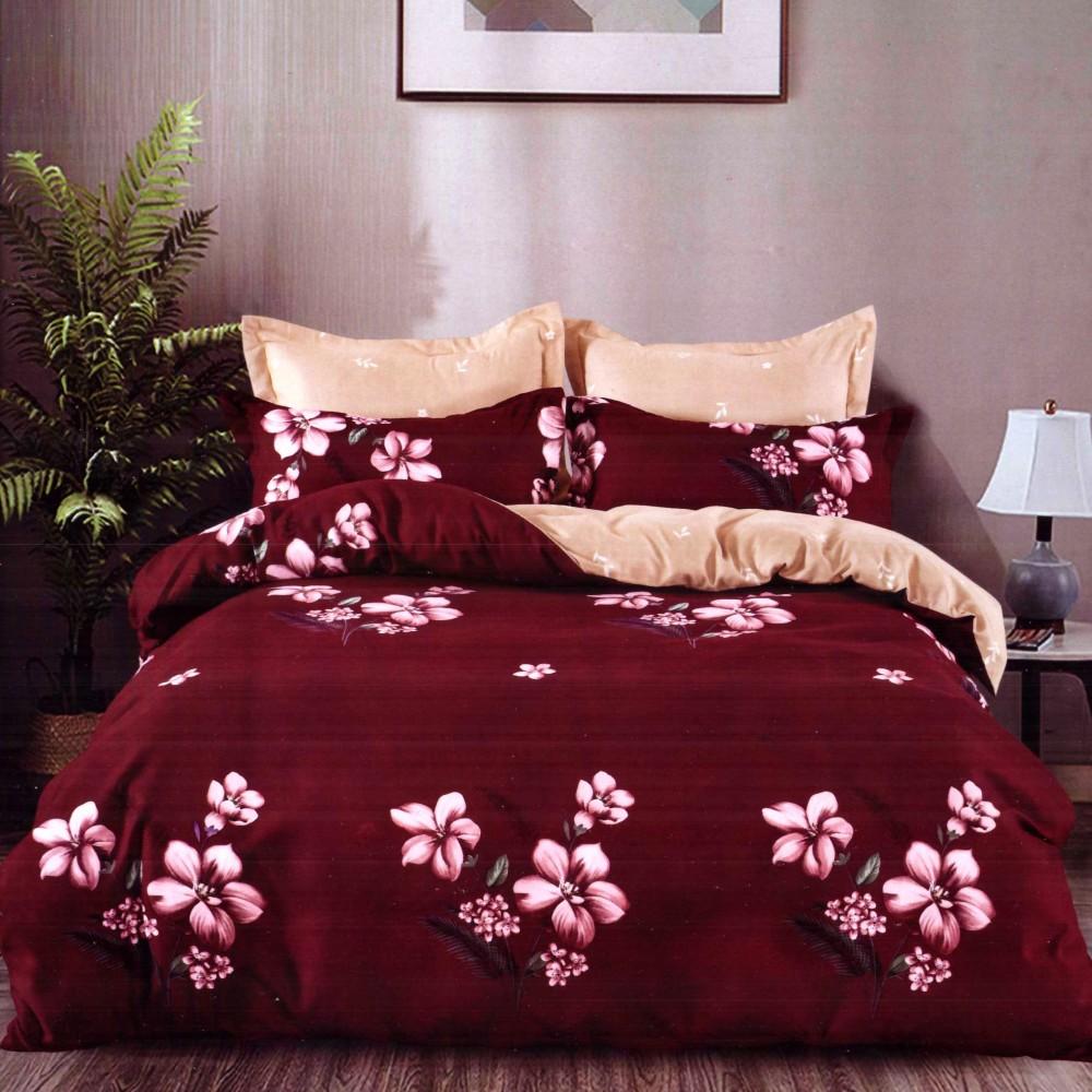 lenjerie de pat finet grena cu floricele