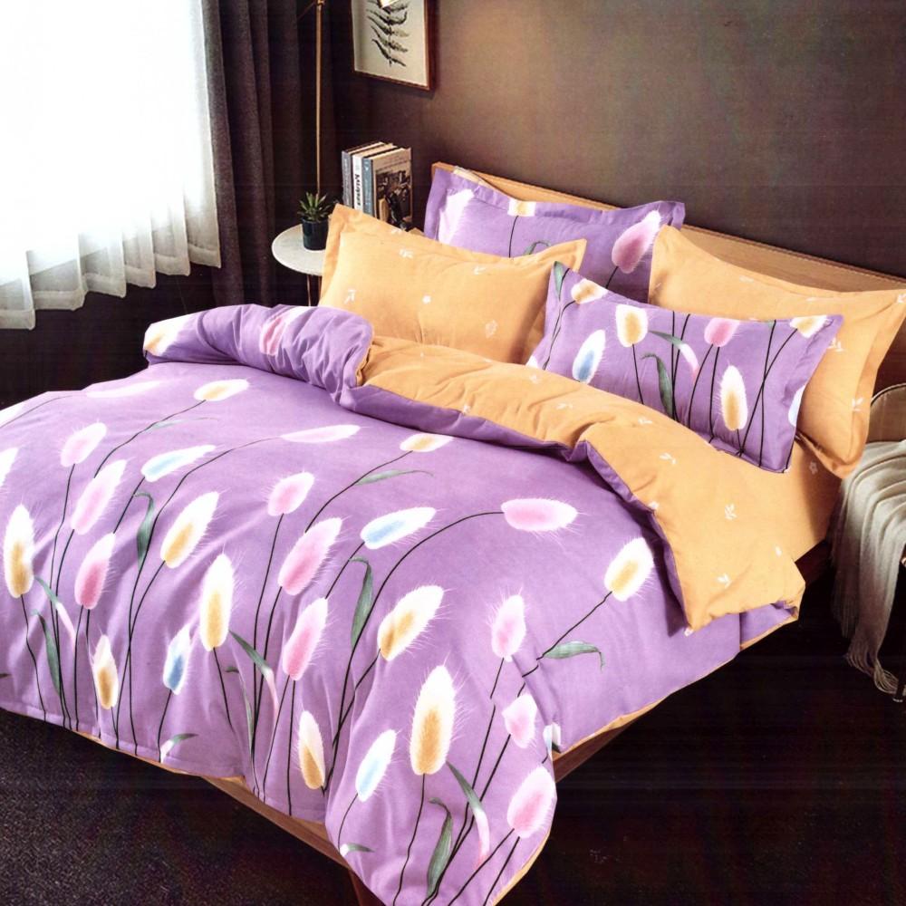 lenjerie de pat finet lila cu floricele