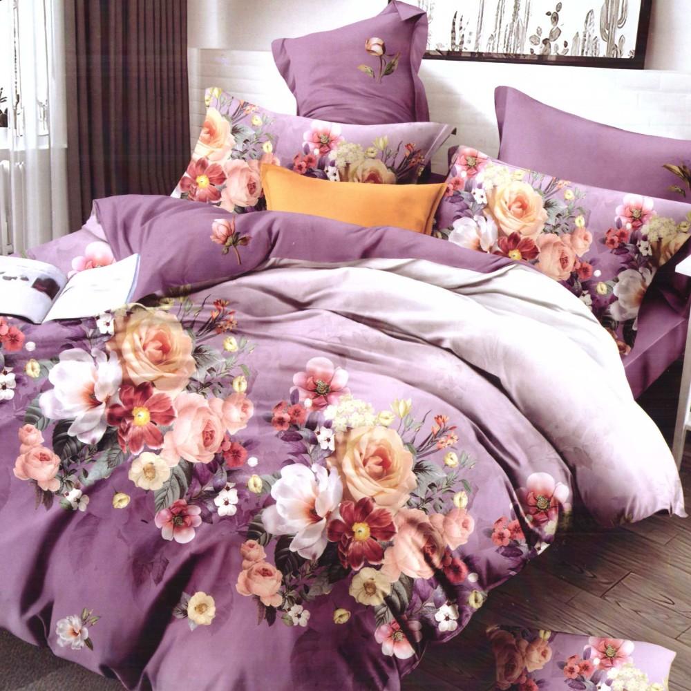 lenjerie de pat finet mov cu floricele