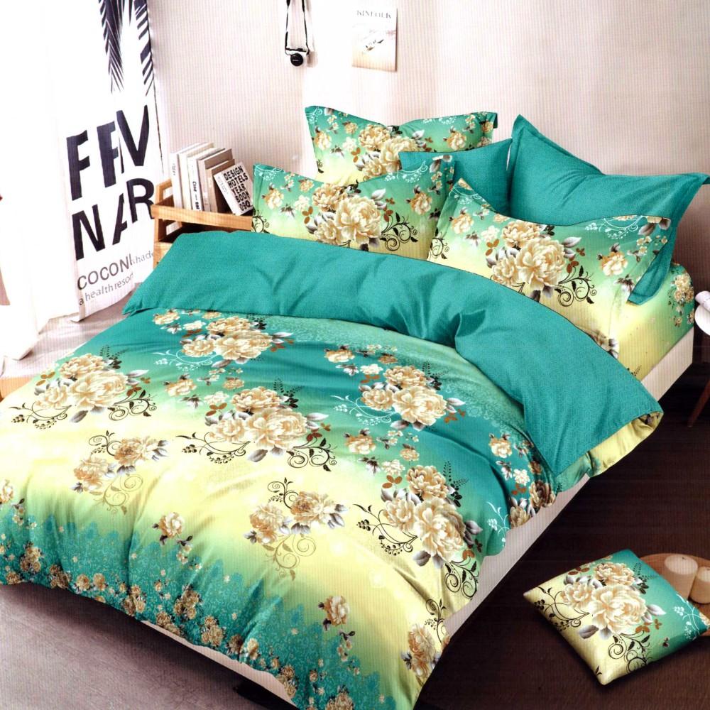 lenjerie de pat finet turcoaz cu flori