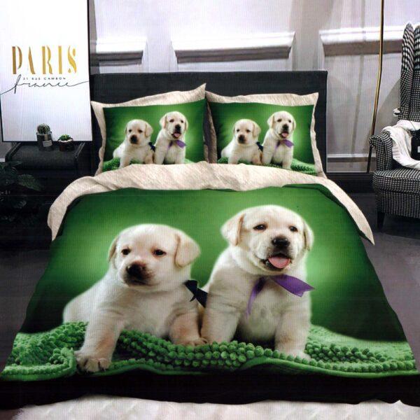 lenjerie de pat finet verde cu catelusi