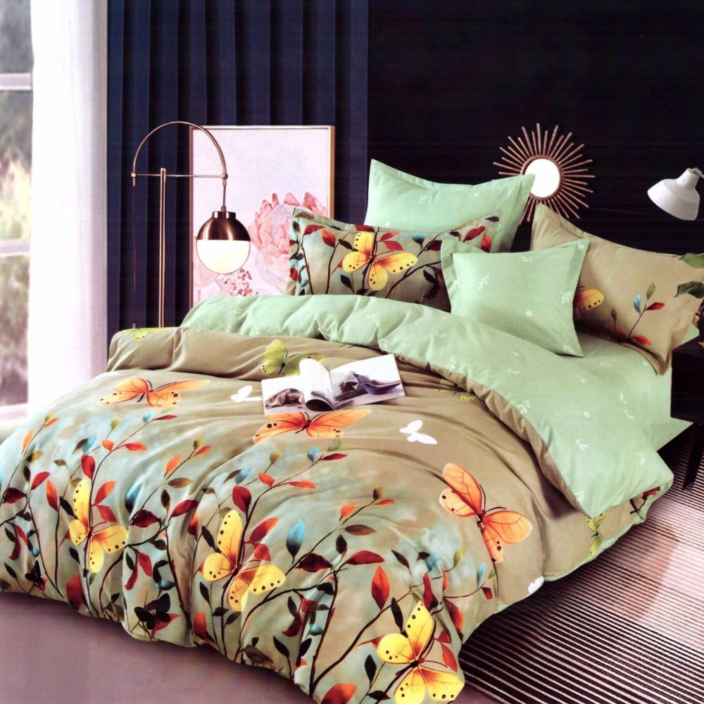 lenjerie de pat finet verde cu fluturi
