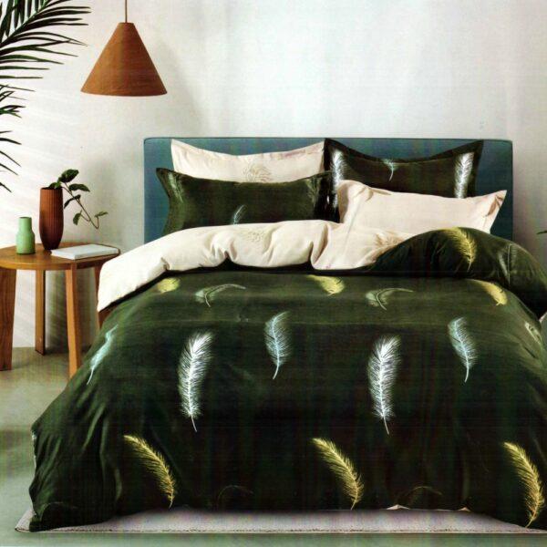 lenjerie de pat finet verde cu pene