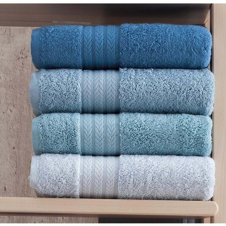 set 4 prosoape bleu-bleumarin