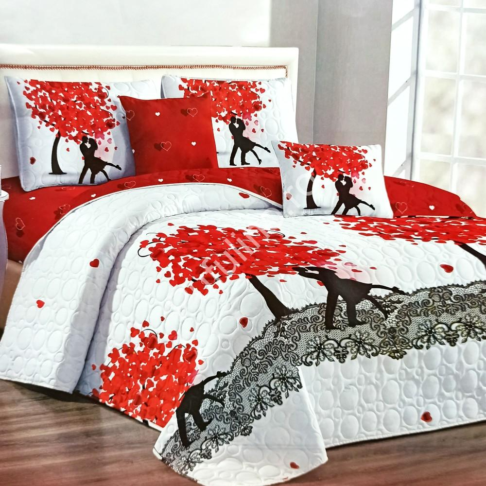 cuvertura de pat alb cu rosu