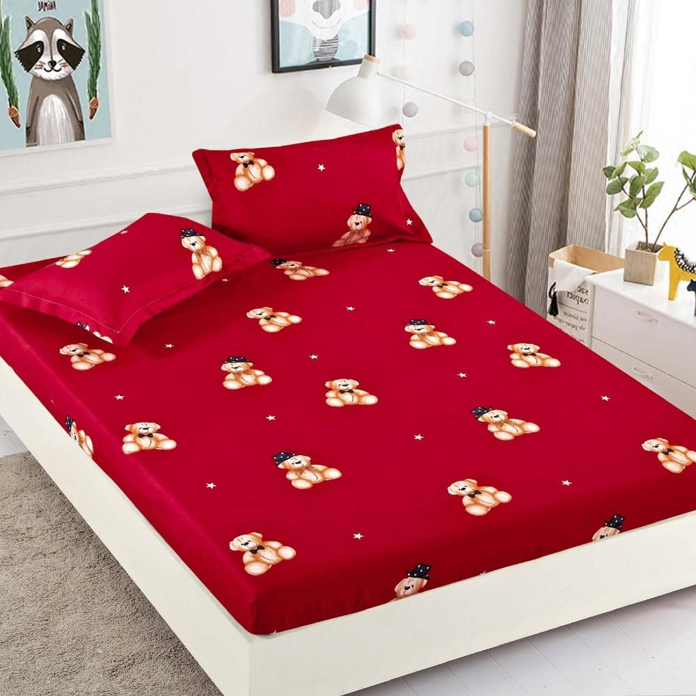 husa de pat rosie cu ursuleti