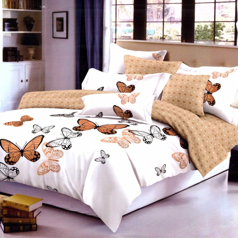 lenjerie de pat fient alba cu fluturi