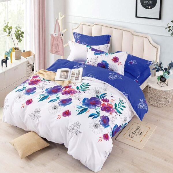 lenjerie din finet alba cu flori colorate