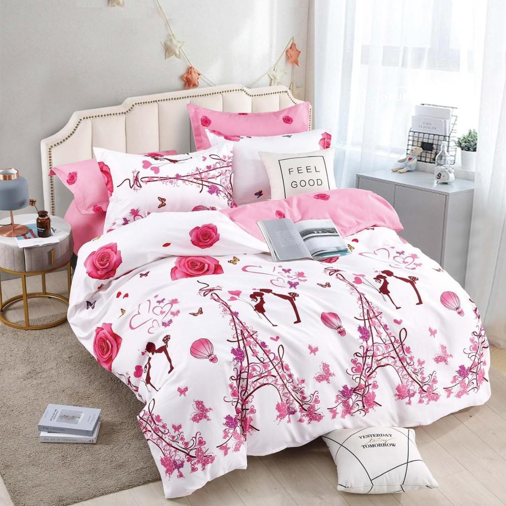 lenjerie din finet alba cu flori roz