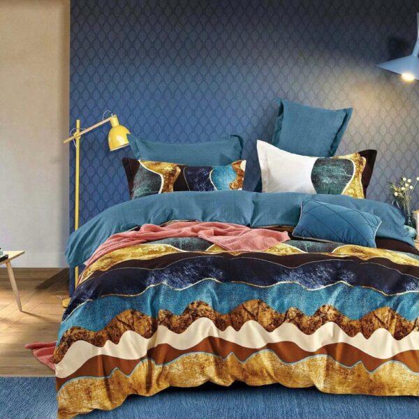 lenjerie multicolora din finet cu maro si albastru