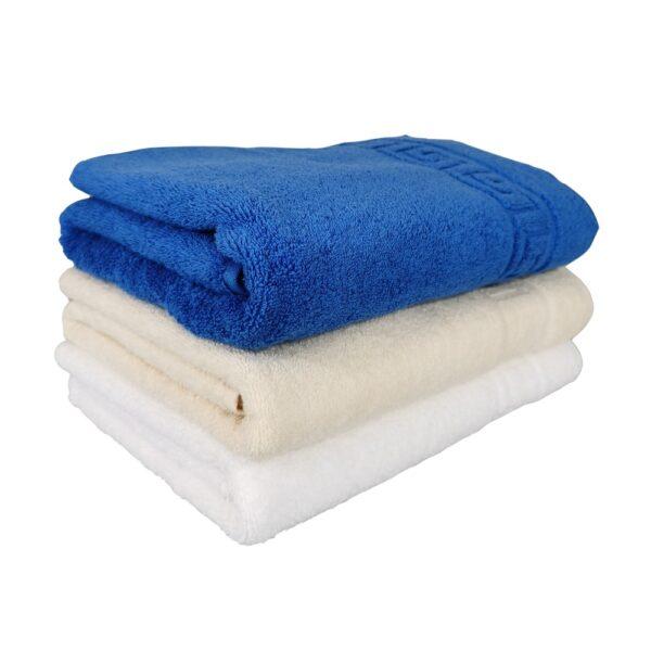 set 3 prosoape alb, crem si albastru