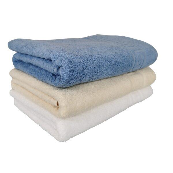 set 3 prosoape alb, crem si bleu