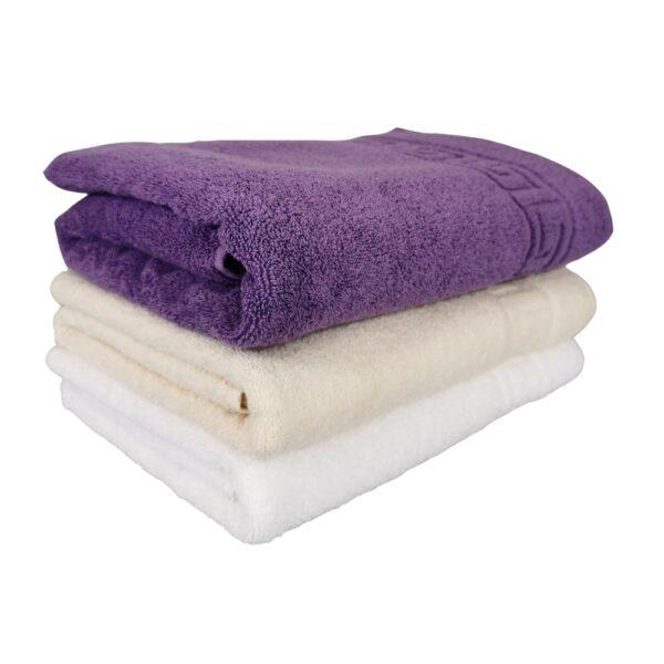 set 3 prosoape alb, crem si violet