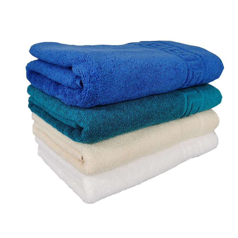set 4 prosoape alb, crem, turcoaz si albastru