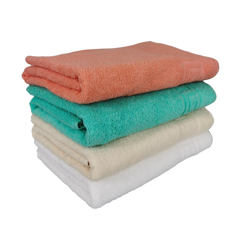 set 4 prosoape alb, crem, verde si portocaliu