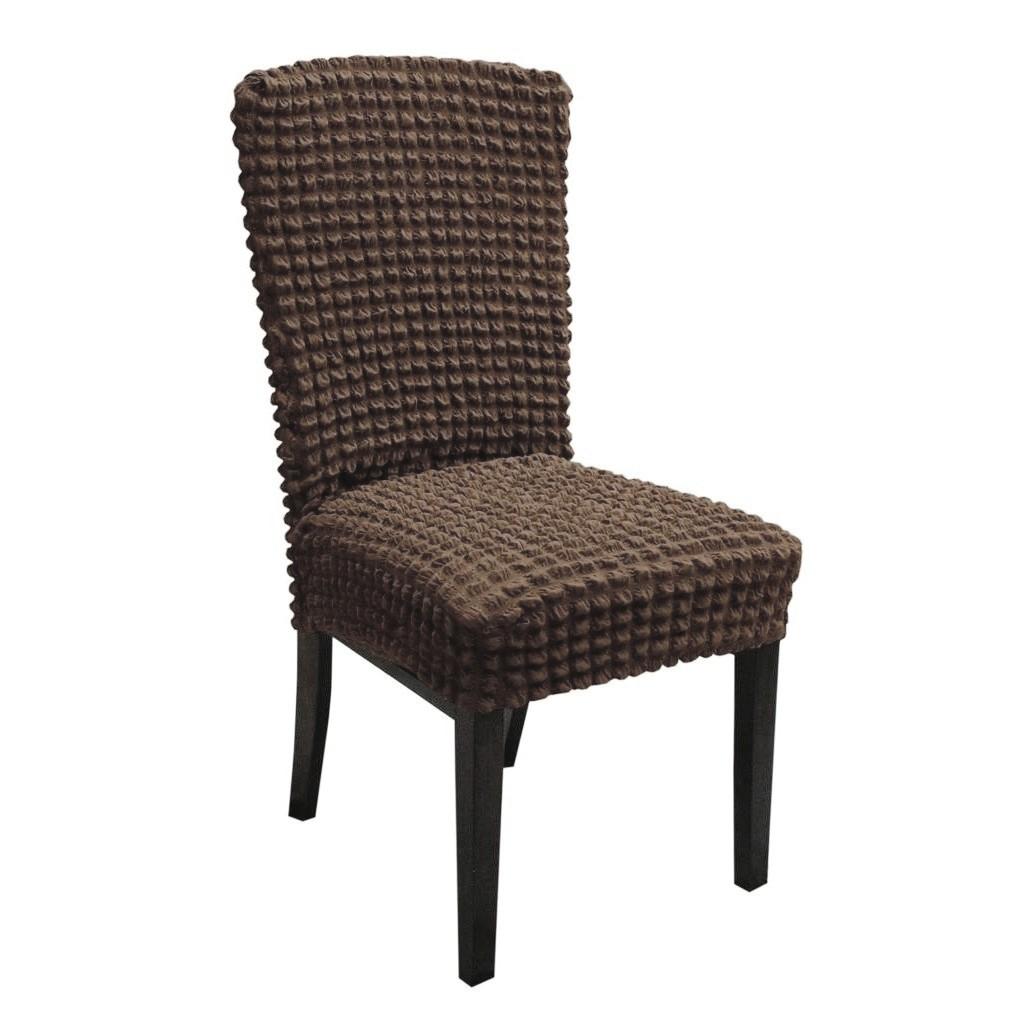 set 6 huse de scaun creponate - cafeniu