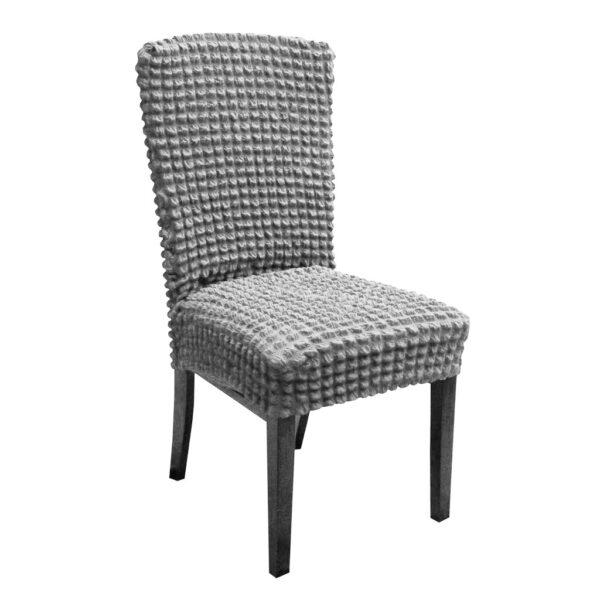 set 6 huse de scaun creponate - gri deschis