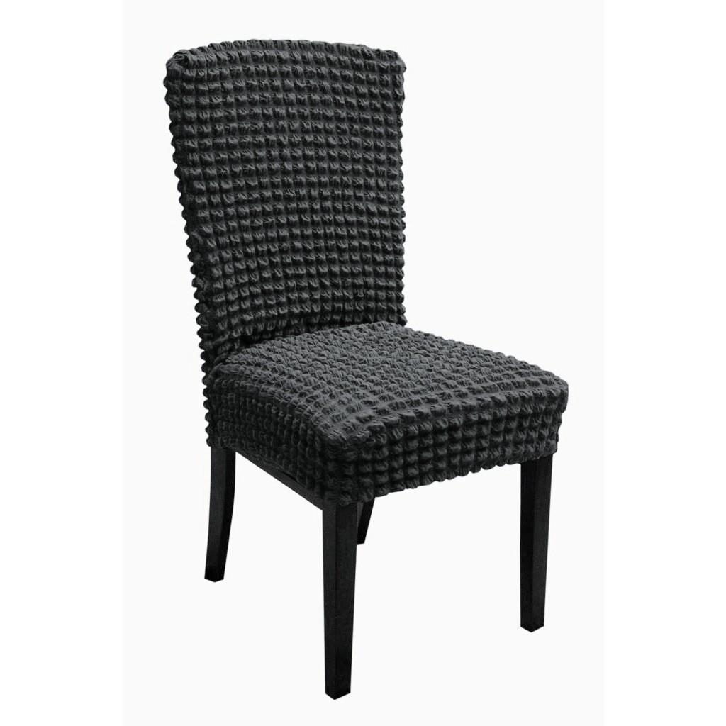 set 6 huse de scaun creponate - gri inchis
