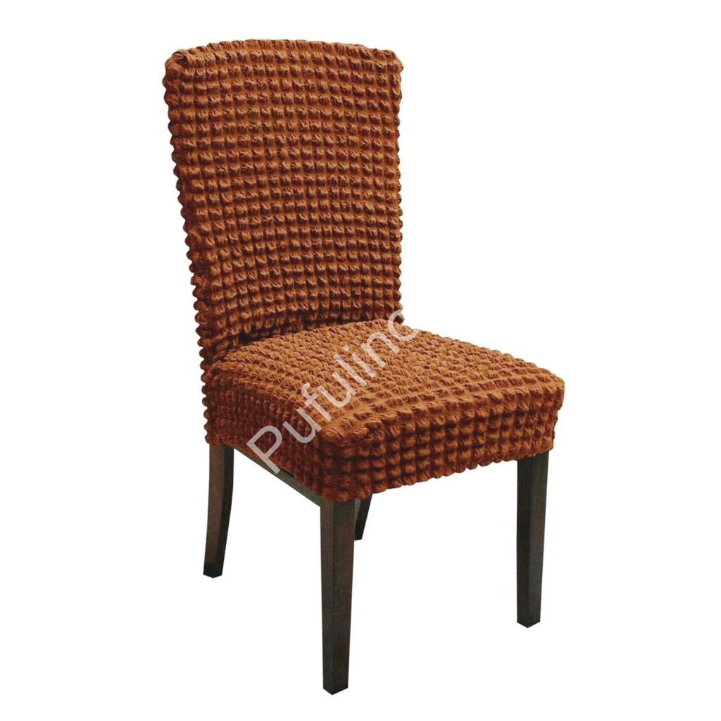 set 6 huse de scaun creponate - maro deschis