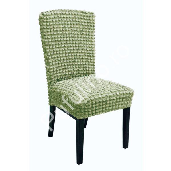 set 6 huse de scaun creponate - verde