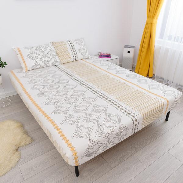 husa de pat cu elastic din bumbac 100% ranforce - alb - galben