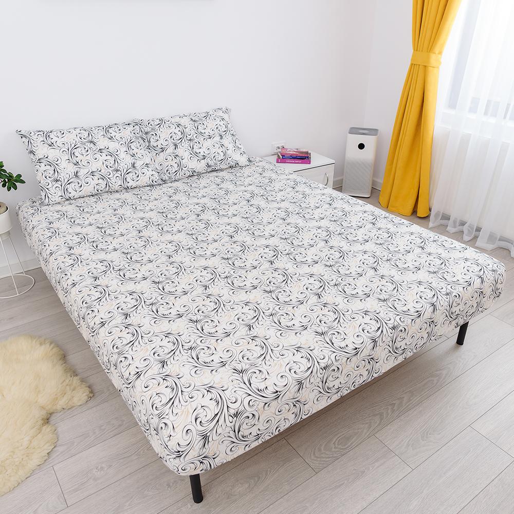 husa de pat cu elastic din bumbac 100% ranforce - alb negru