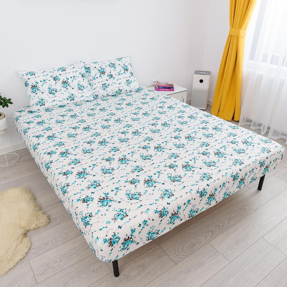 husa de pat cu elastic din bumbac 100% ranforce - alb turcoaz cu flori