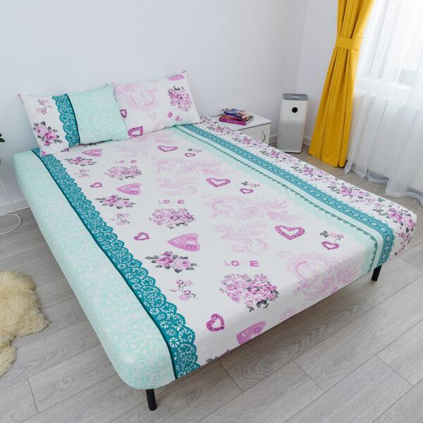 husa de pat cu elastic din bumbac 100% ranforce - albastru si roz