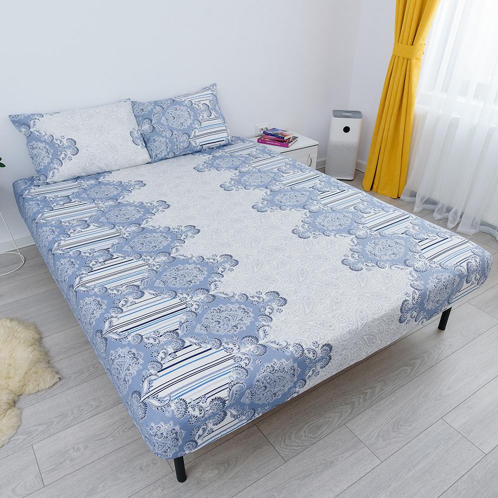 husa de pat cu elastic din bumbac 100% ranforce - bleu
