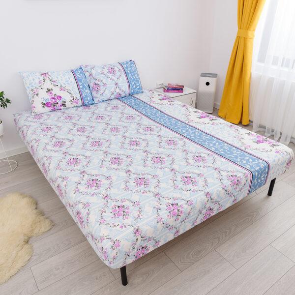husa de pat cu elastic din bumbac 100% ranforce - floare roz