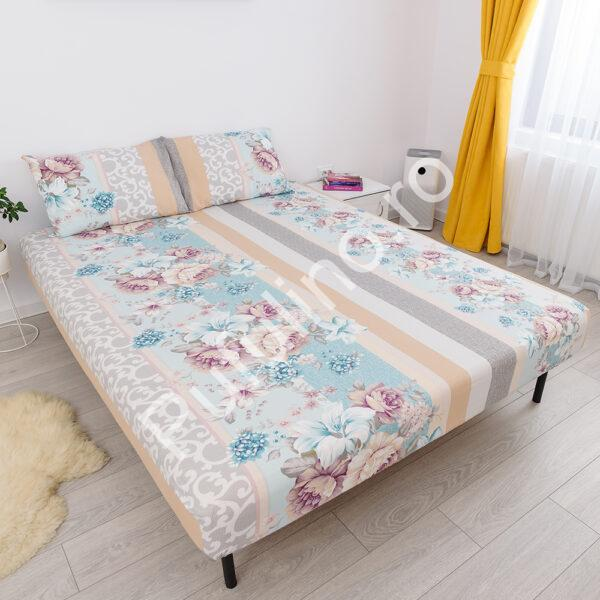 husa de pat cu elastic din bumbac 100% ranforce - flori