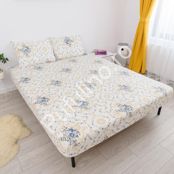 husa de pat cu elastic din bumbac 100% ranforce - flori galbene