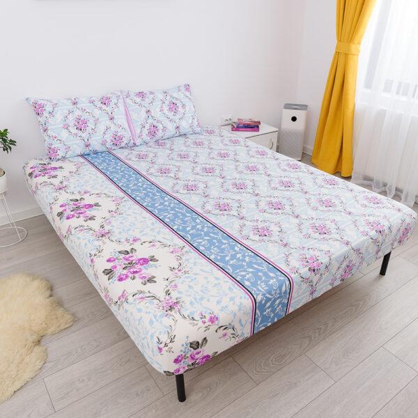 husa de pat cu elastic din bumbac 100% ranforce - flori roz