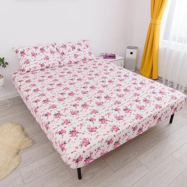 husa de pat cu elastic din bumbac 100% ranforce - floricele roz