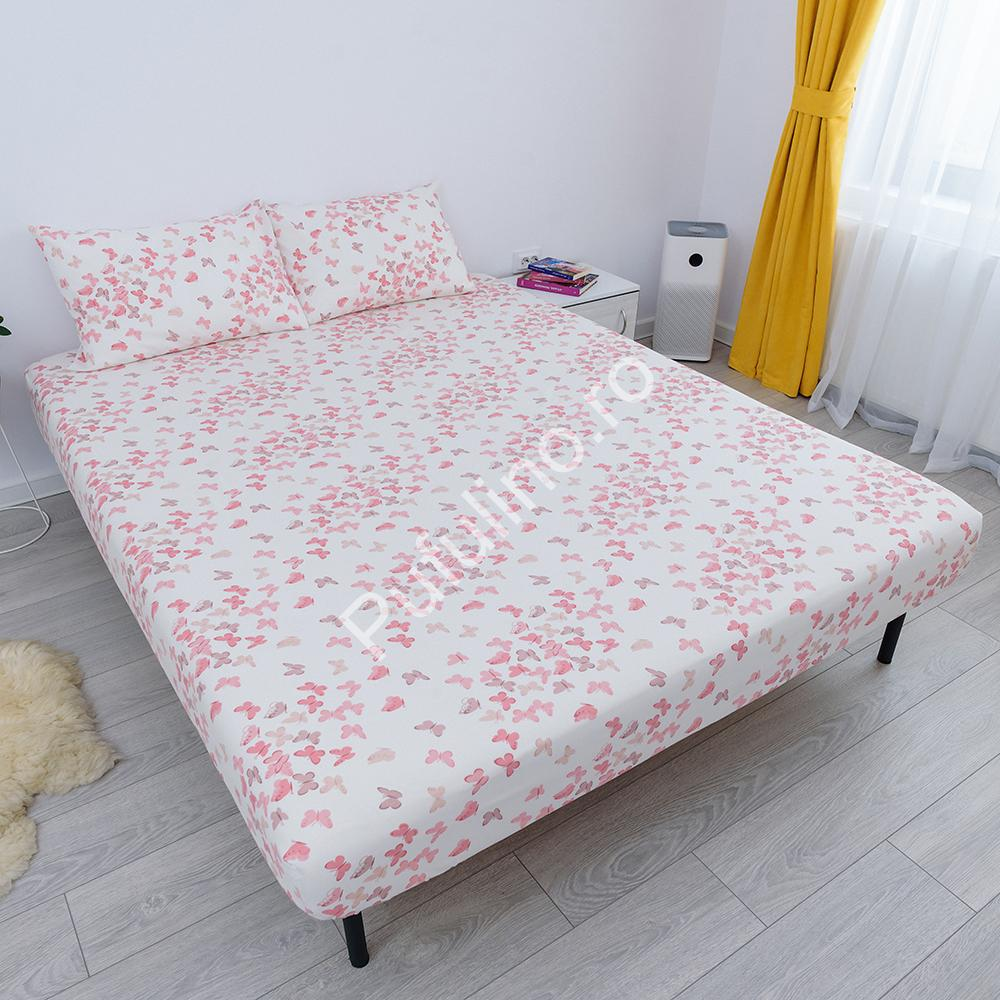 husa de pat cu elastic din bumbac 100% ranforce - fluturi roz