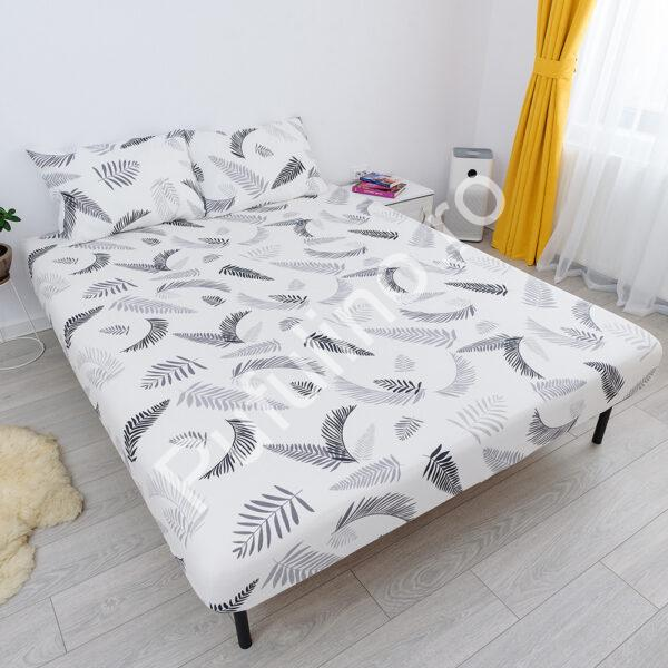 husa de pat cu elastic din bumbac 100% ranforce - fulgi alb
