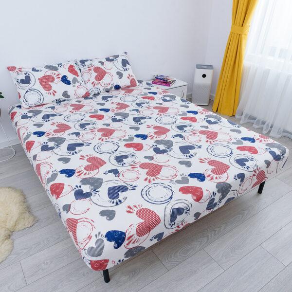 husa de pat cu elastic din bumbac 100% ranforce - inimioare rosii