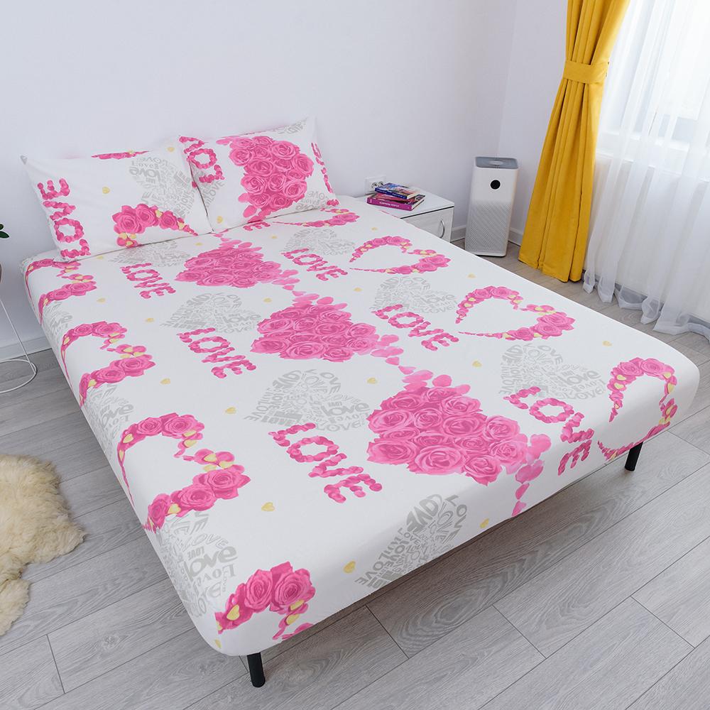 husa de pat cu elastic din bumbac 100% ranforce - love