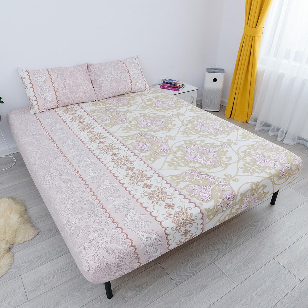 husa de pat cu elastic din bumbac 100% ranforce - ornamente crem