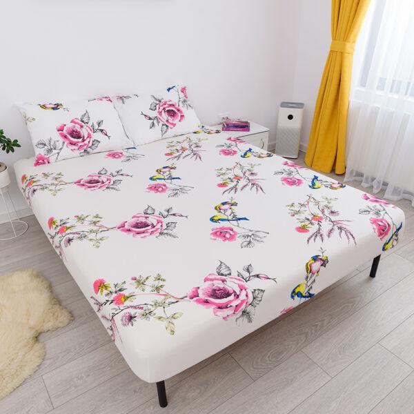 husa de pat cu elastic din bumbac 100% ranforce - trandafiri roz