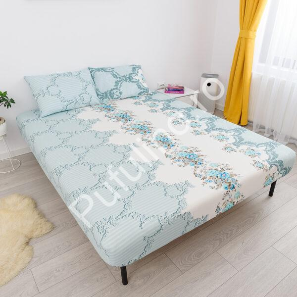 husa de pat cu elastic din bumbac 100% ranforce - turcoaz