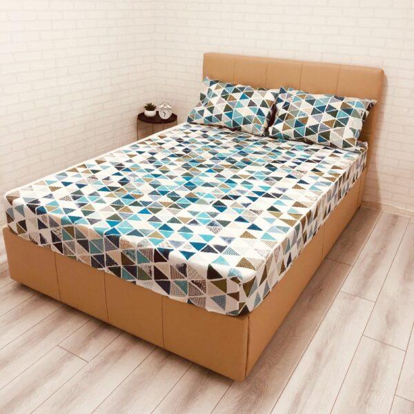 husa de pat cu elastic ranforce cu triunghiuri