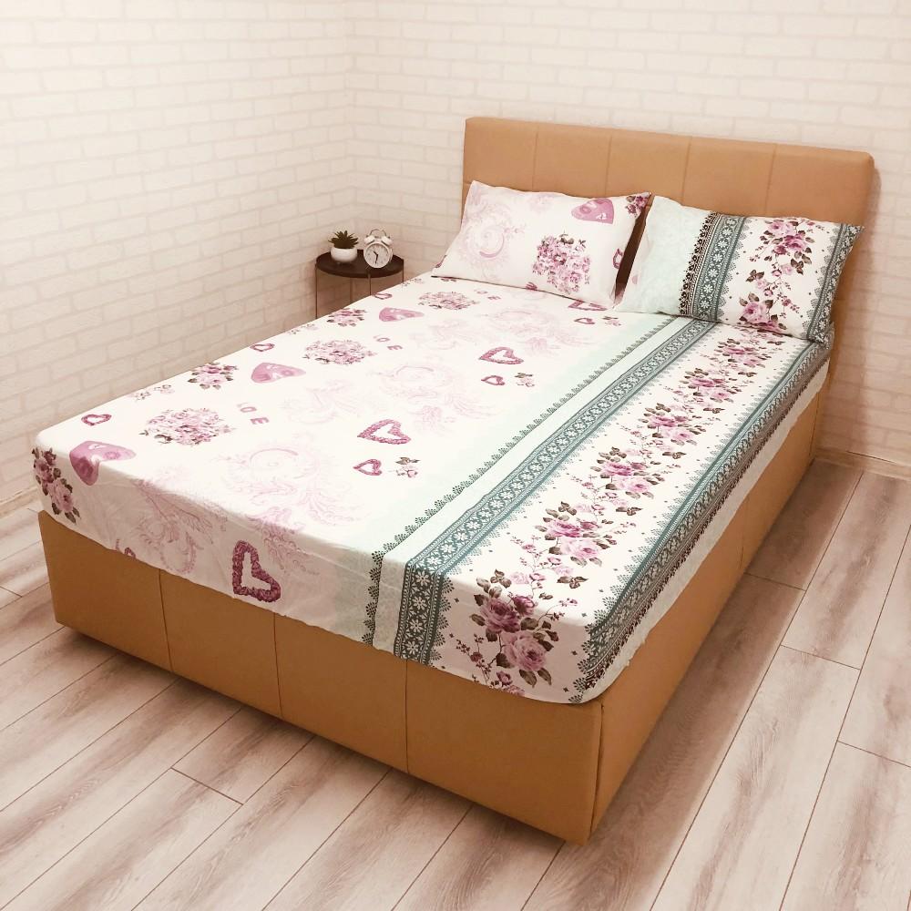 husa de pat cu elastic ranforce cu flori si inimioare