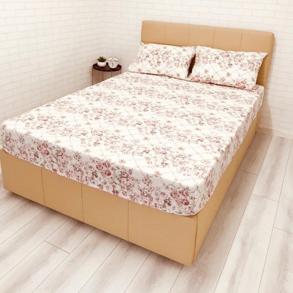 husa de pat cu elastic ranforce alba cu flori