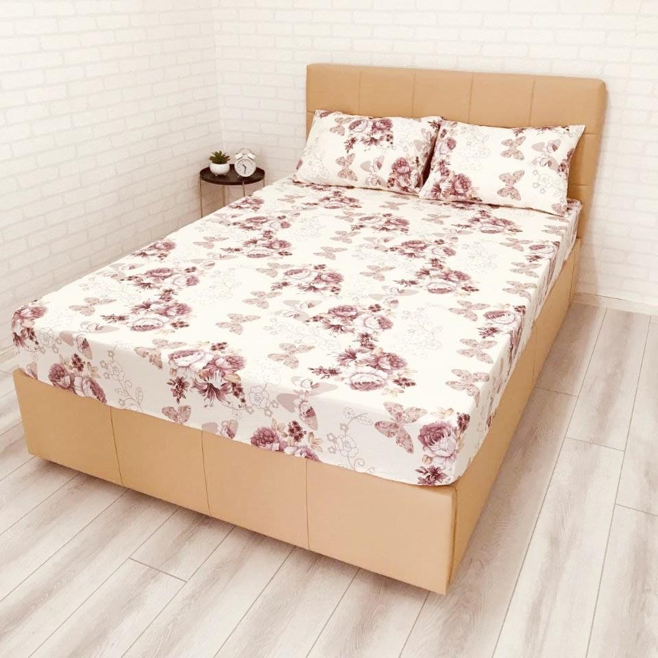 husa de pat cu elastic ranforce crem cu flori