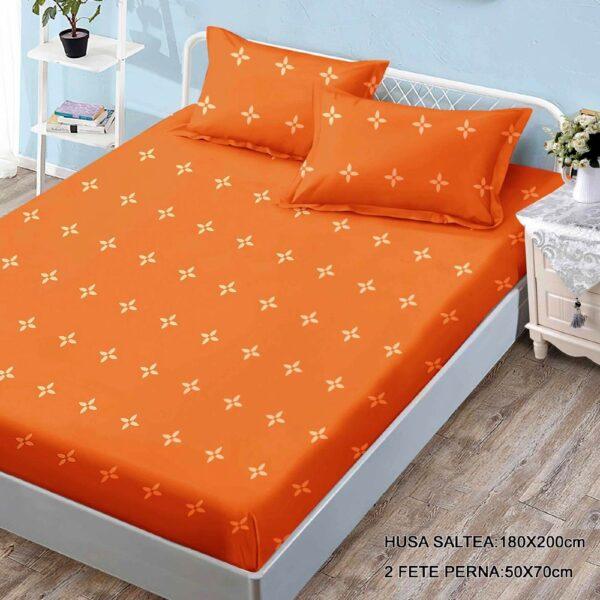 husa de pat finet cu 2 fete de perna portocalie cu flori