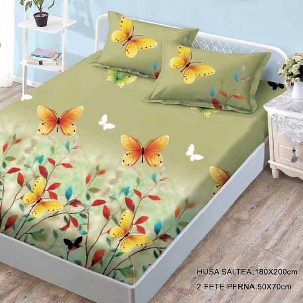 husa de pat finet cu 2 fete de perna verde cu fluturi