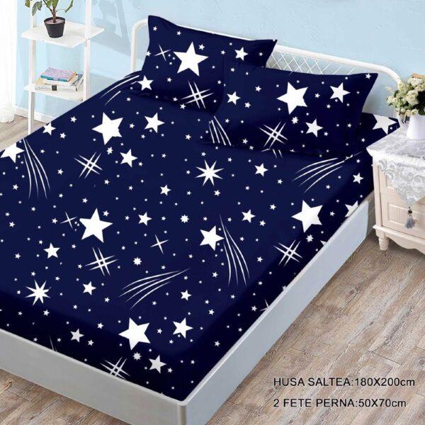 husa de pat finet si 2 fete de perna albastra cu stelute
