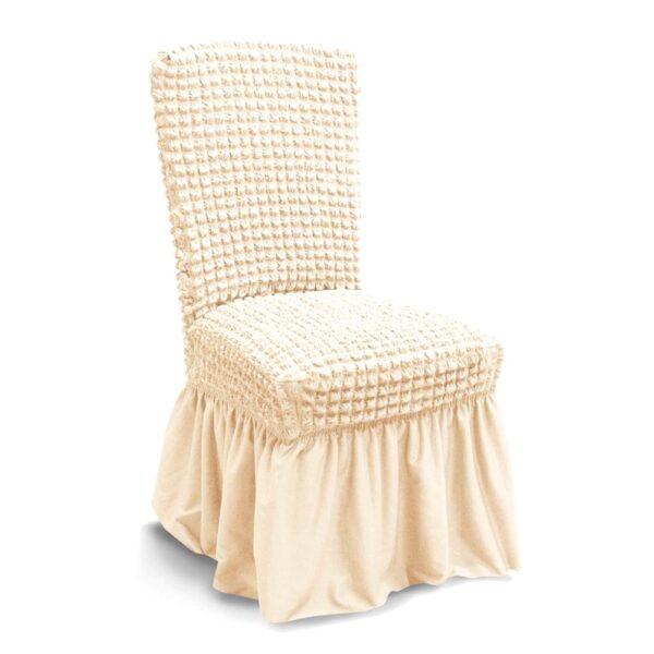 husa de scaun creponata cu volane - crem