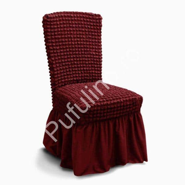 husa de scaun creponata cu volane - grena